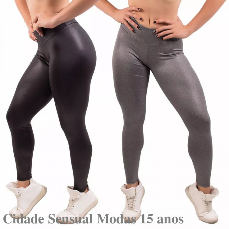 Kit 2 Calça Feminino Cirrê Fitness Legging Academia Fit Lisa
