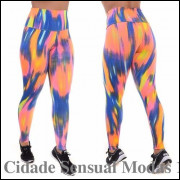 Kit 3 Calças Leggings Suplex Estampado Cós Alto Fitness Leg