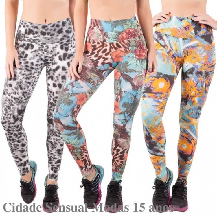 Kit 3 Calça Legging Fitness Cós Alto Estampada Academia Fit