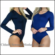 kit com 3 Body Feminino Manga Longa Costa Fechada Collant Blusa