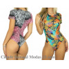 Body Feminino Cavado Manga Curta Estampado Blusa Collant