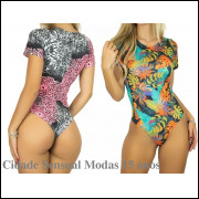 Kit com 4 Body Feminino Cavado Manga Curta Estampado Blusa Collan