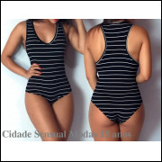 Kit 2 Body Regata Listrado Cavado Feminino Blusa Collant