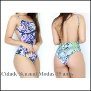 Body Cavado Estampado Decote Profundo Collant Feminino