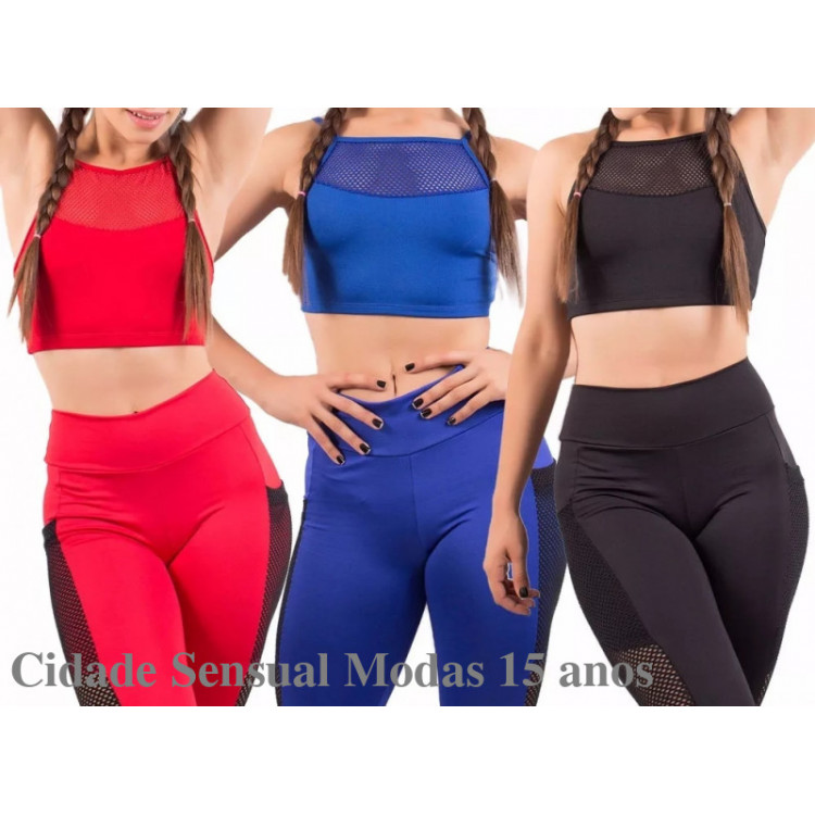 Kit 5 Top Fitness Alcinha Tela Lisa Academia Arraso Cropped