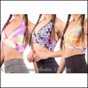 Kit 3 Top Fitness Feminino Suplex Estampado Frente Única