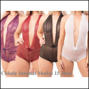 Kit 3 Body Renda Decote Sensual Lingerie Atacado Costa Nua
