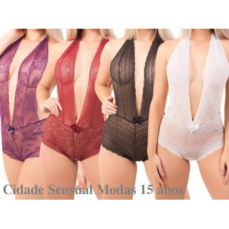 Kit 5 Body Renda Decote Sensual Lingerie Atacado Costa Nua