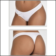 3296 - Tanga Cotton Liso C Laço - M, LEVE 5 PAGUE 4